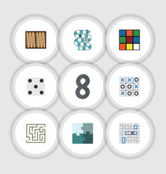 Flat icon play set of backgammon xo dice and vector