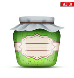 Glass jar with kiwi jam vector