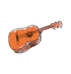 guitar music instrument hand drawn icon vector image vector image
