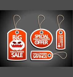 Halloween sale concept design tags set red vector