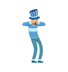 Happy football fan character in blue hat vector