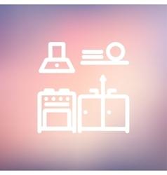 Kitchen interior thin line icon vector image