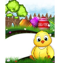 Little fluffy chicken and easter eggs vector