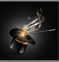 Magic hat and wand with magical gold sparkle trail vector