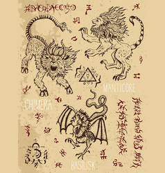 monsters page with occult and mystic symbols vector image vector image