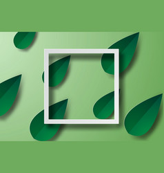 paper art of frame with green leaf bannerswhite vector image vector image