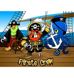 Pirate crew with the Captain on a ship deck vector image vector image