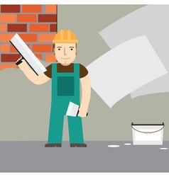 Plasterer at work vector