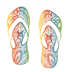 Rainbowdoodleslippers vector image