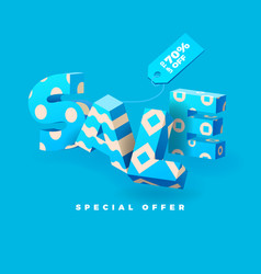 sale 3d sign blue vector image vector image