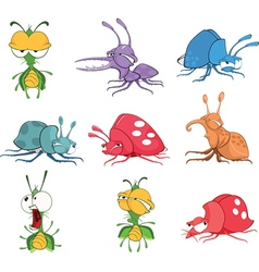 Set cartoon funny bugs vector