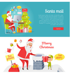 Set of merry christmas and santa mail pictures vector