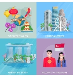 Singapore culture 4 flat icons square vector