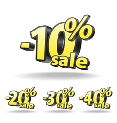 Ten twenty thirty forty percent discount icon on vector image