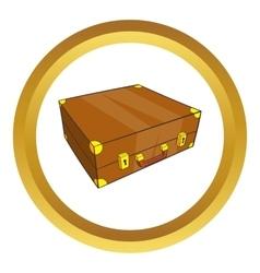 Vintage brown suitcase icon vector