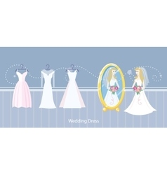 Wedding dress design flat style vector image