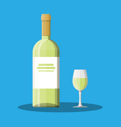 White wine bottle and glass wine alcohol drink vector