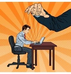 Puppeteer controlling business man pop art vector