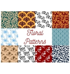 Floral decorative patterns set vector