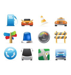 Icons for cars and roads vector
