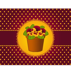 Pansy in pot with lace ornaments vector