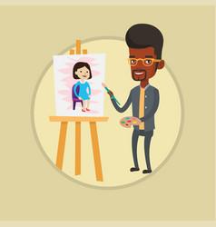 Creative african artist painting portrait vector
