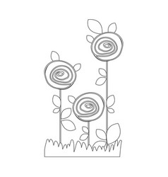 silhouette sketch roses planted with leaves in vector image
