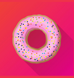 One strawberry donut with pink sprinkles vector