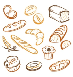 Bread bakery breakfast vector image