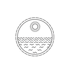Linear round seascape and sun vector