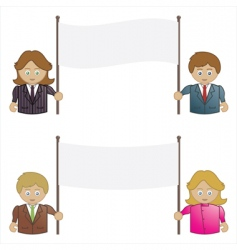 Business people holding signs vector