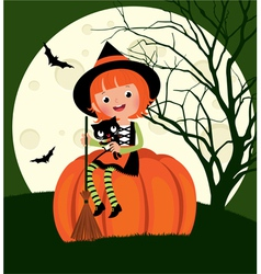 Halloween witch sitting on a pumpkin vector