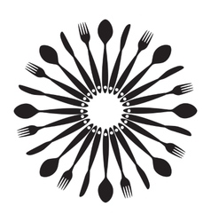 Background with forks spoons end knifes vector