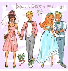 Bride and groom set 1 vector