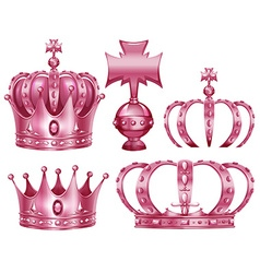 Different design of crowns in pink color vector