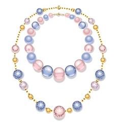 Necklace of blue and pink beads vector