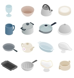 Pastry set icons isometric 3d style vector