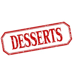 Desserts square red grunge vintage isolated label vector
