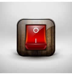 Switch with a shiny red button contains wood vector