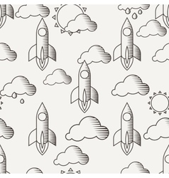Seamless pattern with rockets clouds and vector