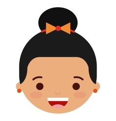 Face little girl isolated icon design vector