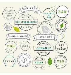 Raw and vegan stamps set vector