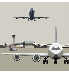Airfield with planes vector