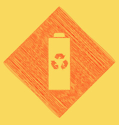 Battery recycle sign red vector