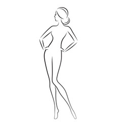 beautiful slim nude young woman vector image vector image