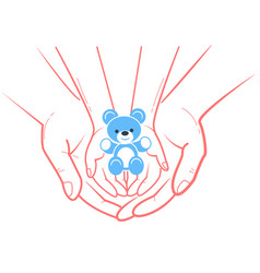 Concept of child protection toy bear vector