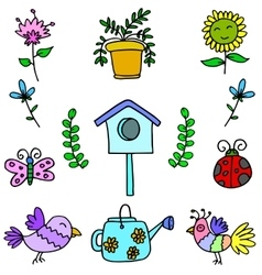 Doodle of colorful spring items vector