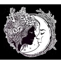 Dreamy elf fairy with a moon vector