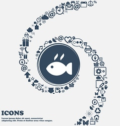 Fish dish Icon in the center Around the many vector image vector image
