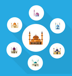 flat icon minaret set of mosque religion vector image vector image